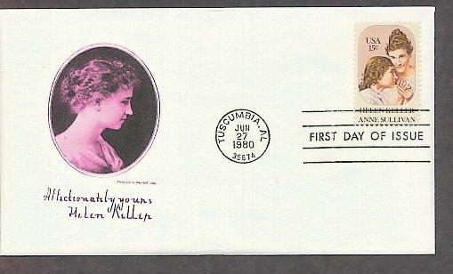 Blind Deaf Helen Keller, Anne Sullivan, 1980 First Issue USA!
