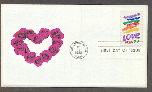 Love 1985 Postage Stamp,  Valentine Heart of Roses Design, First Issue USPS USA!
