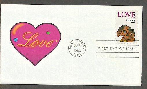 Love Postage Stamp, Puppy, Valentine Love Heart First Issue1986 USPS USA!