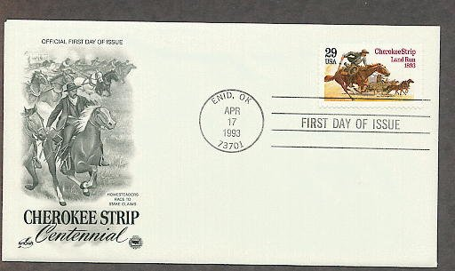 Cherokee Strip Land Run, Oklahoma, Western Cowboy on Horse, PCS First Issue FDC USA
