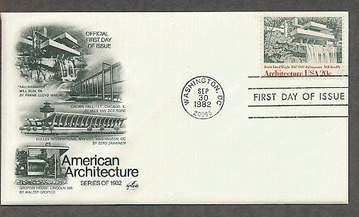 American Architecture, Fallingwater, Frank Lloyd Wright, AC First Issue FDC USA!