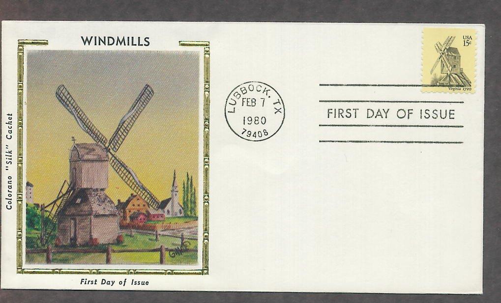 Robertson's Windmill, Virginia 1720, Colorano Silk First Issue USA!