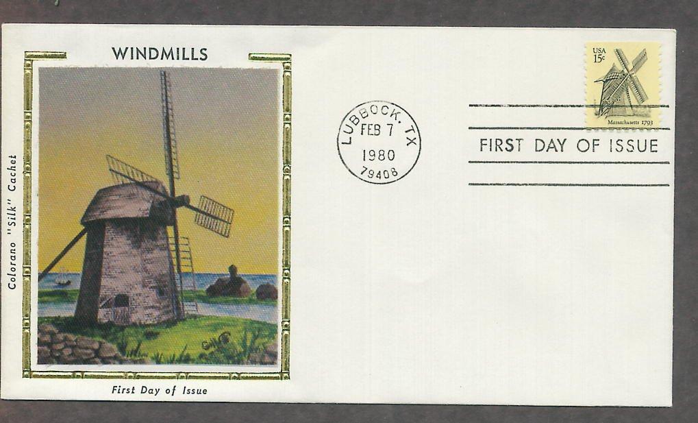 Cape Cod Windmill, Massachusetts 1793, First Issue Colorano Silk USA!