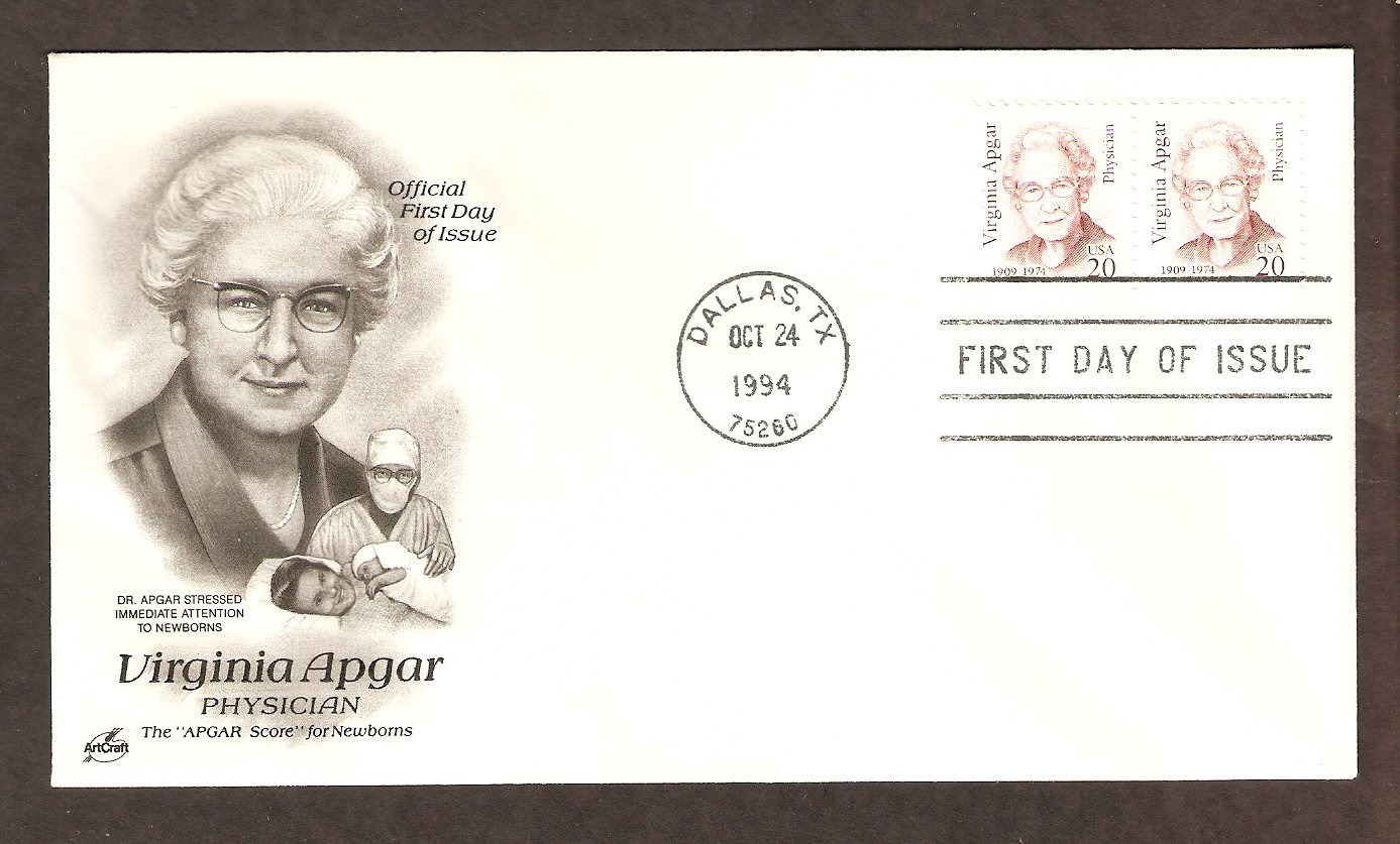 Honoring  Dr. Virginia Apgar, Developer of the Apgar Score, First Issue USA