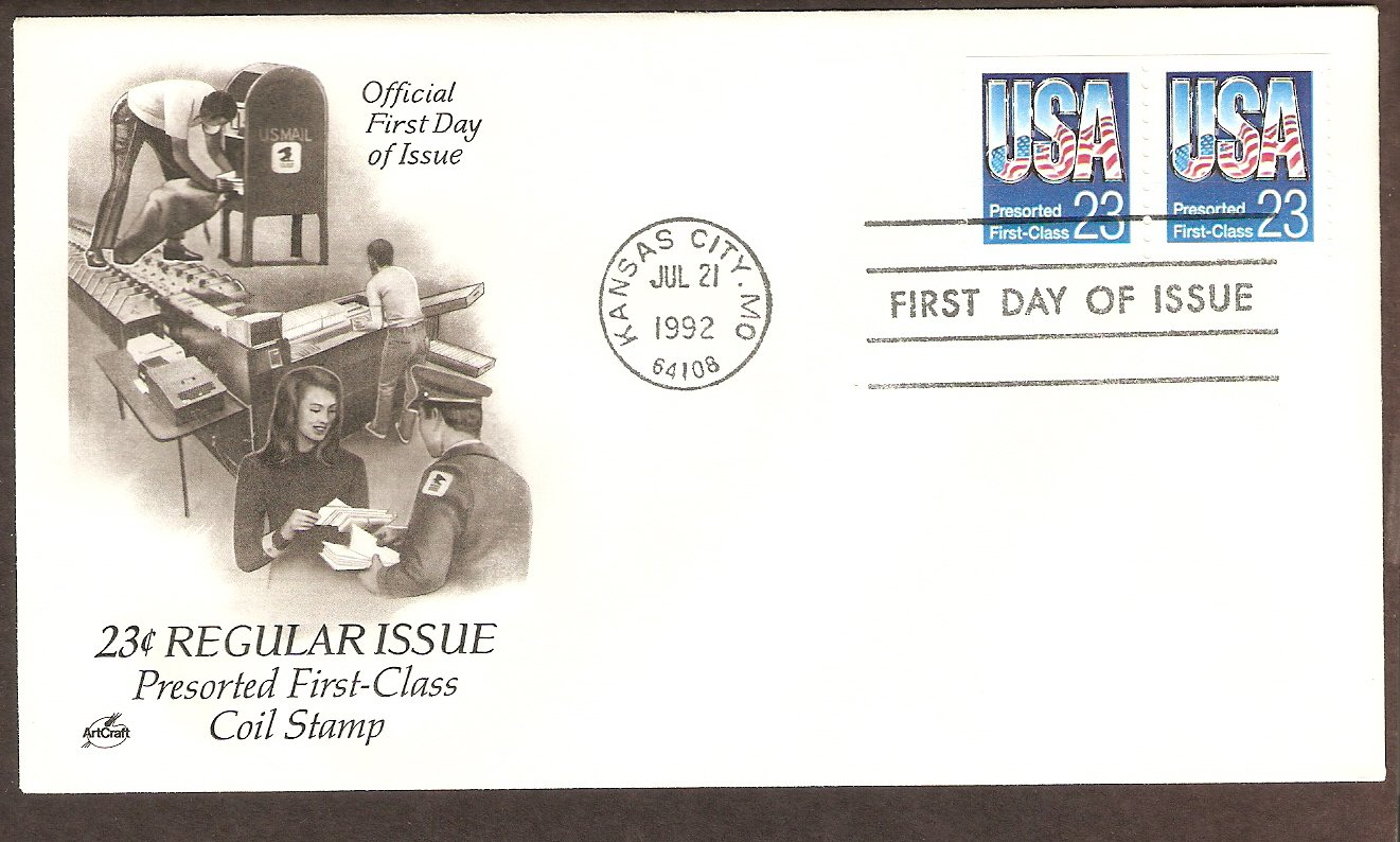 U.S. Presorted First Class Mail, Letter Carrier, USPS Mail Box, First Issue USA