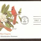 West Virginia Birds and Flowers, Cardinal, Rhododendron, FW First Issue USA
