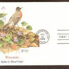 Wisconsin Birds and Flowers, Robin, Wood Violet, FW First Issue USA