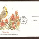 Wyoming Birds and Flowers, Western Meadowlark, Indian Paintbrush FW First Issue USA
