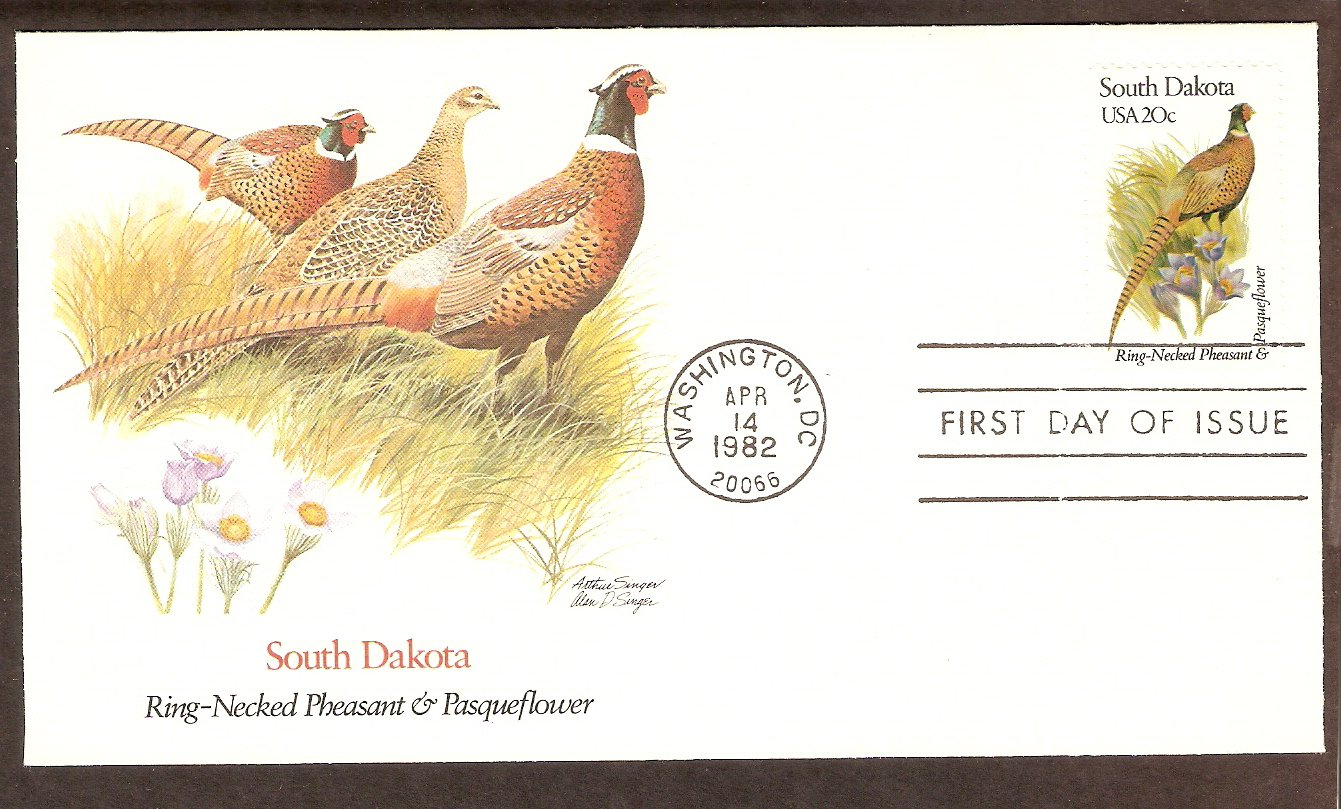 South Dakota Birds and Flowers, Ring-Necked Pheasant, Pasqueflower, FW First Issue USA