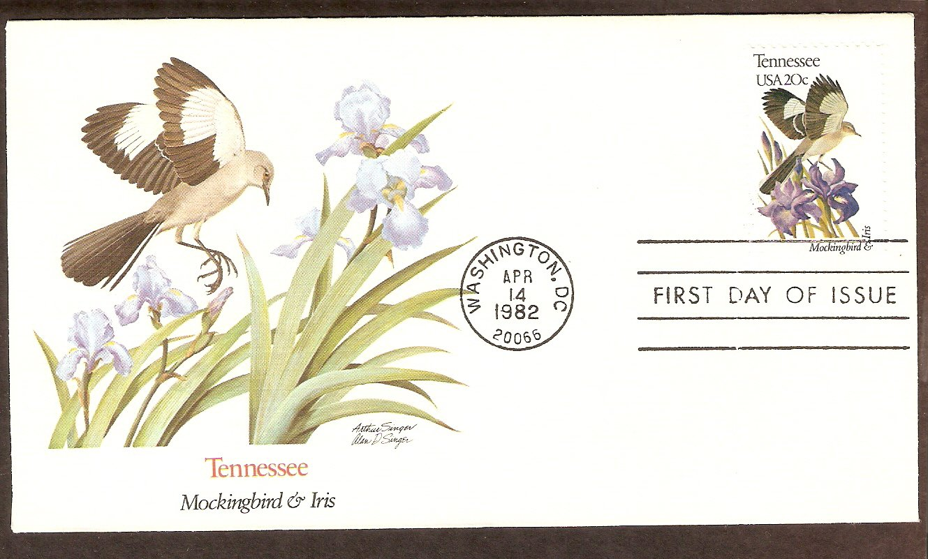 Tennessee Birds and Flowers, Mockingbird and Iris, FW First Issue USA