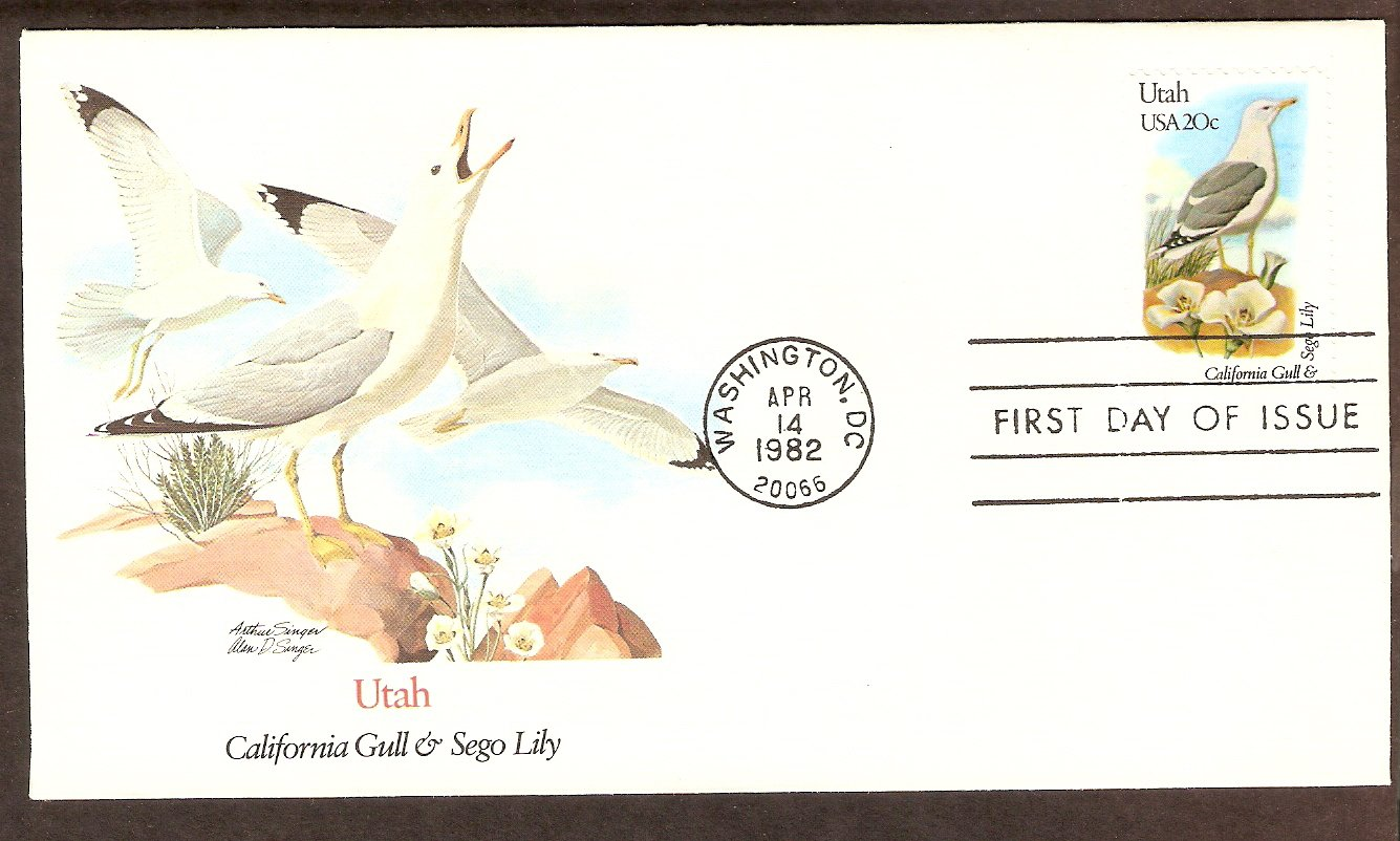 Utah Birds and Flowers, California Gull and Sego Lilly FW First Issue USA