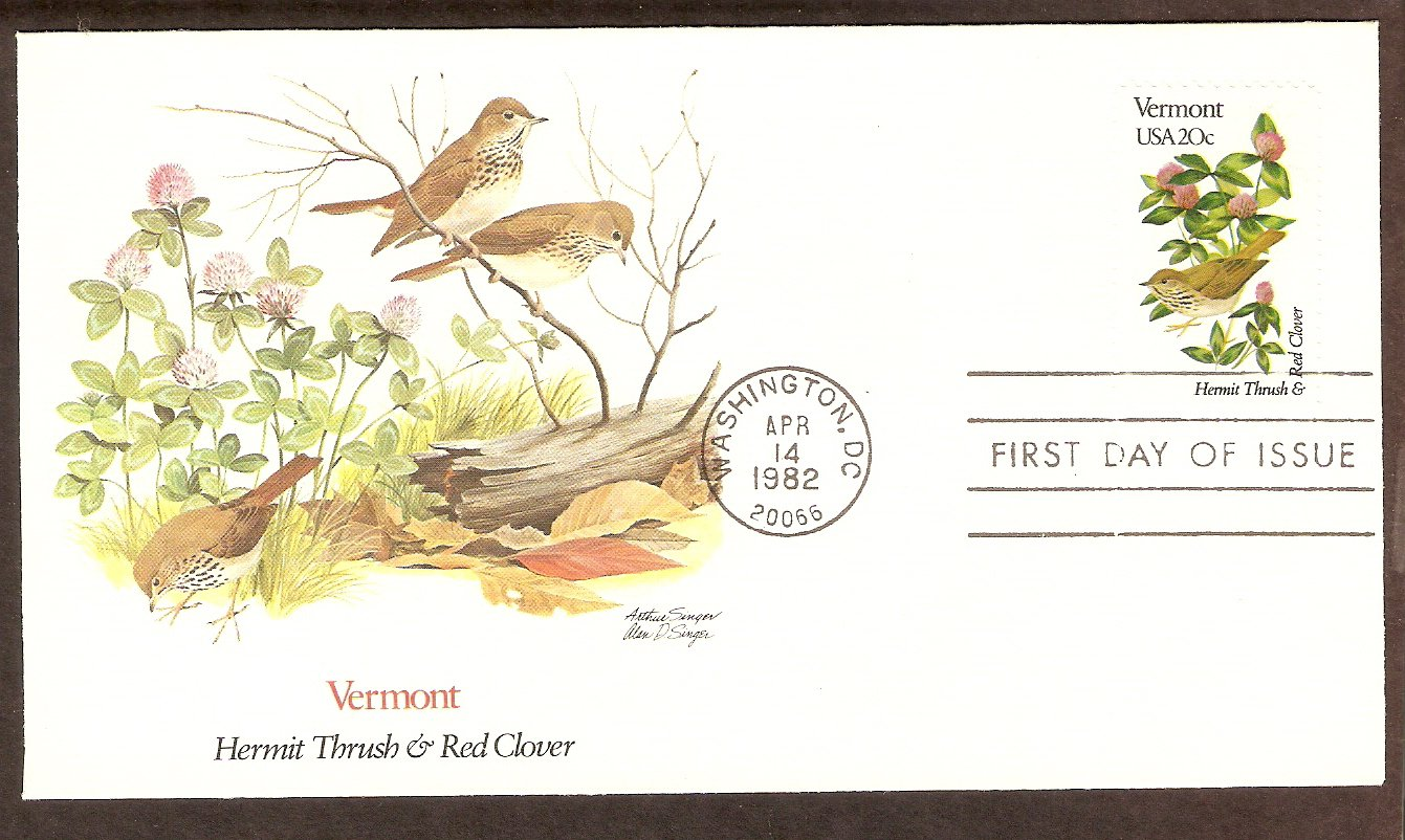 Vermont Birds and Flowers, Hermit Thrush, Red Clover, FW First Issue USA