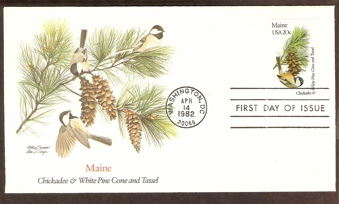 Maine Birds and Flowers, Chickadee and White Pine Cone and Tassel ...