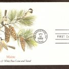 Maine Birds and Flowers, Chickadee and White Pine Cone and Tassel, FW First Issue USA
