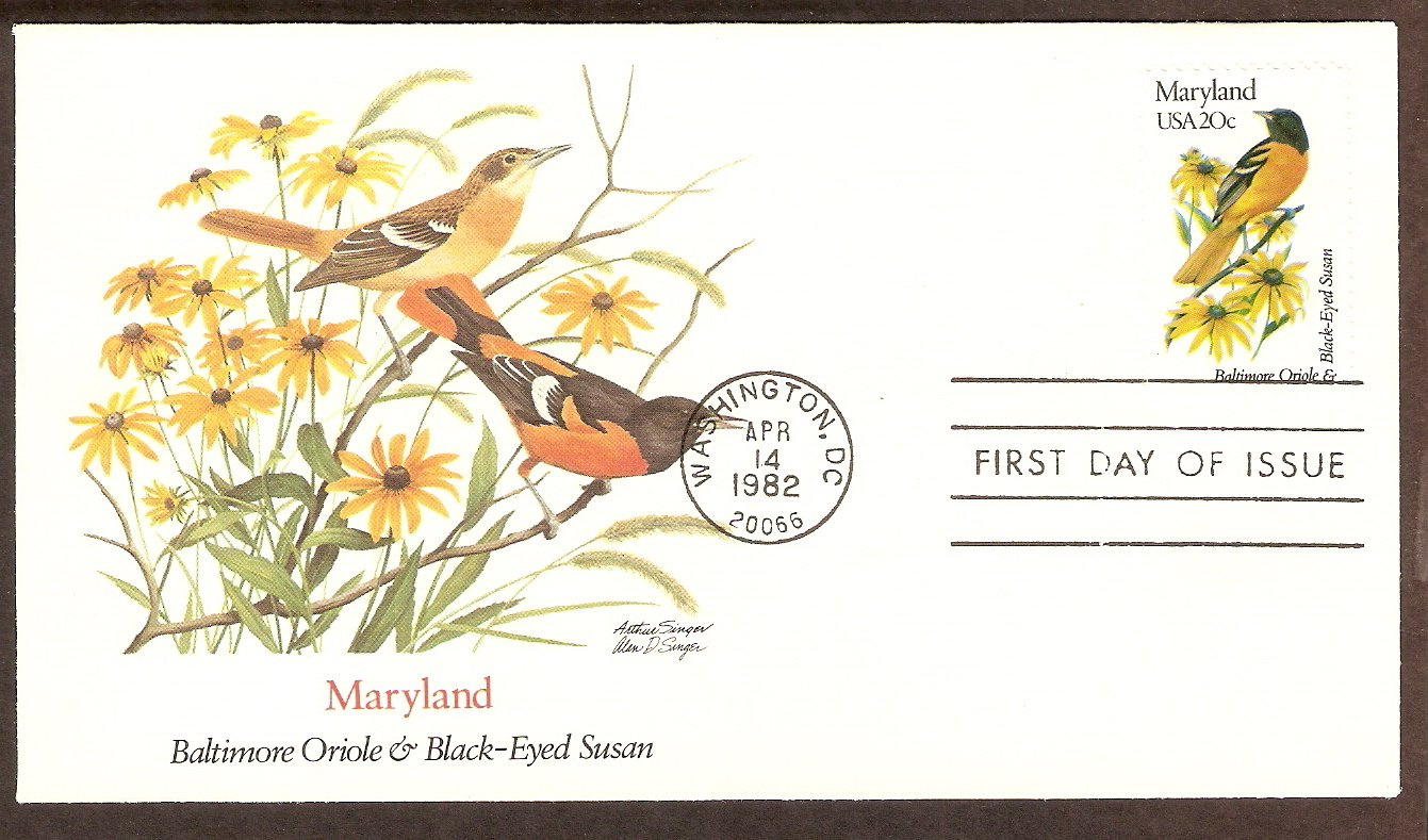 Maryland Birds and Flowers, Baltimore Oriole, Black-Eyed Susan, FW First Issue USA