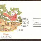 Illinois Birds and Flowers, Cardinal and Violet, FW First Issue USA