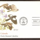 Colorado Birds and Flowers, Lark Bunting, Rocky Mountain Columbine, Fleetwood First Issue USA