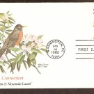 Connecticut Birds and Flowers, Robin and Mountain Laurel, FW First Issue USA