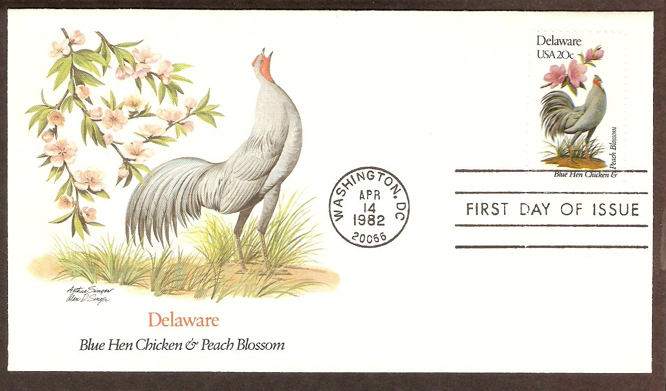 Delaware Birds and Flowers, Blue Hen Chicken and Peach Blossom, FW First Issue USA