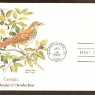 Georgia Birds and Flowers, Brown Thrasher And Cherokee Rose, FW First Issue USA