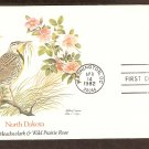 North Dakota Birds and Flowers, Western Meadowlark, Wild Prarie Rose, FW First Issue USA