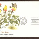 New Jersey Birds and Flowers, American Goldfinch, Violet, FW First Issue USA