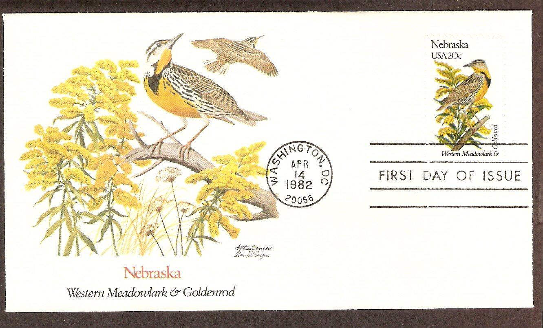 Nebraska Birds and Flowers, Western Meadowlark, Goldenrod, FW First Issue USA