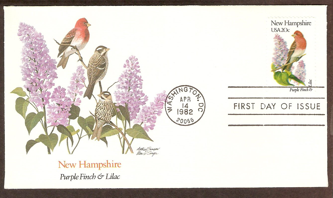 New Hampshire Birds and Flowers, Purple Finch and Lilac, FW First Issue USA