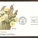 Arizona Birds and Flowers, Cactus Wren, Saguaro Cactus Blossom, FW First Issue USA