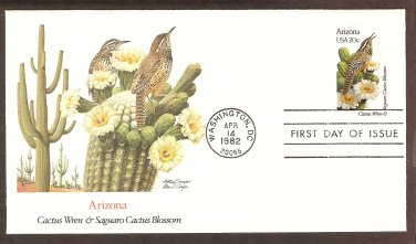 Arizona Birds and Flowers, Cactus Wren, Saguaro Cactus Blossom, FW First Issue USA