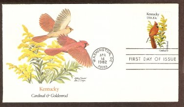 Kentucky Birds and Flowers, Cardinal, Goldenrod, FW First Issue USA