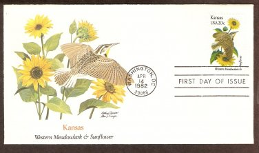 Kansas Birds and Flowers, Western Meadowlark, Sunflower, FW First Issue USA