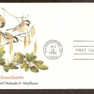 Massachusetts Birds and Flowers, Black-Capped Chickadee and Mayflower, FW First Issue USA