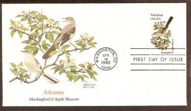 Arkansas Birds and Flowers, Mockingbird, Apple Blossom, FW First Issue USA