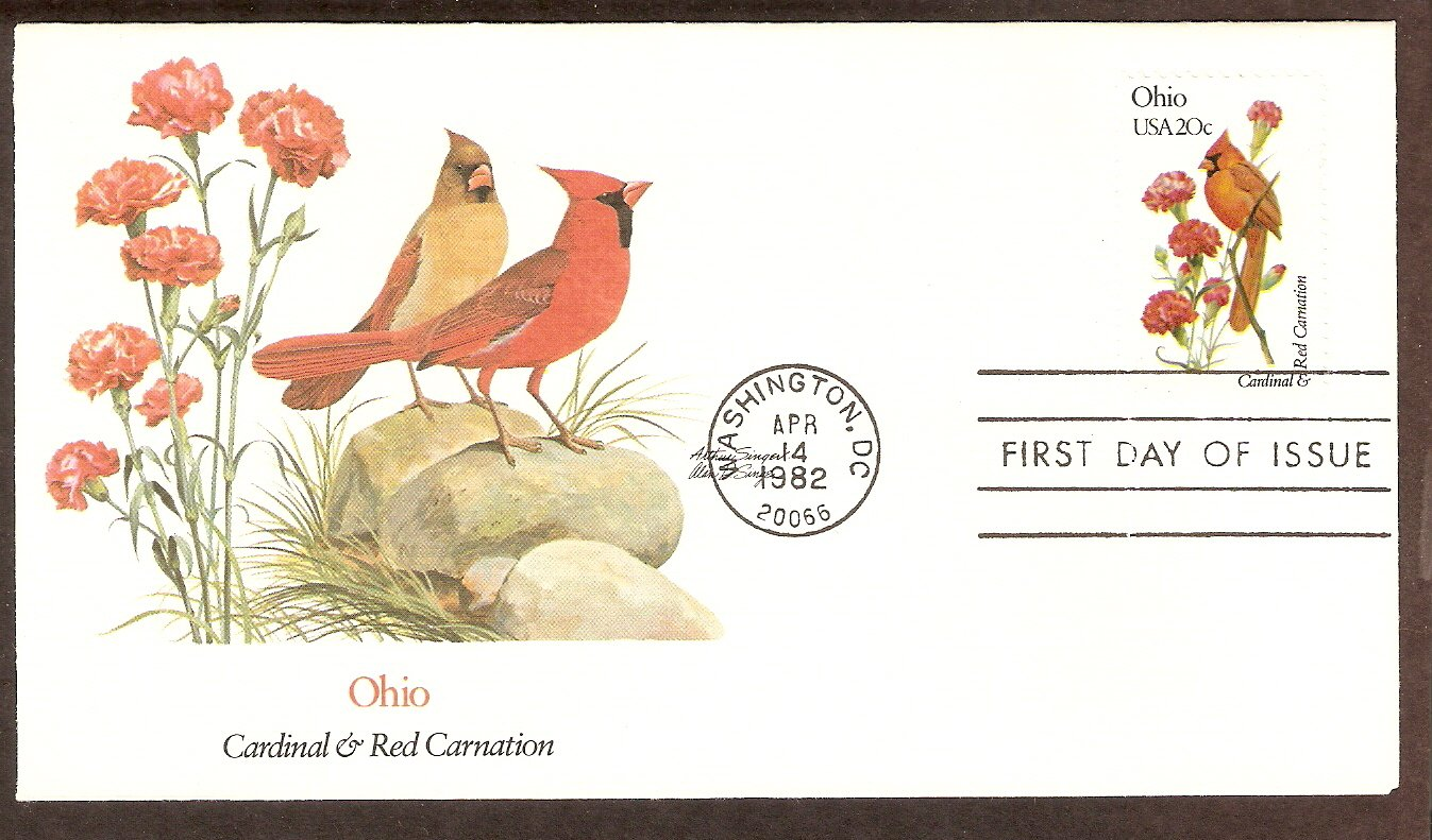 Ohio Birds and Flowers, Cardinal, and Red Carnation, FW First Issue USA