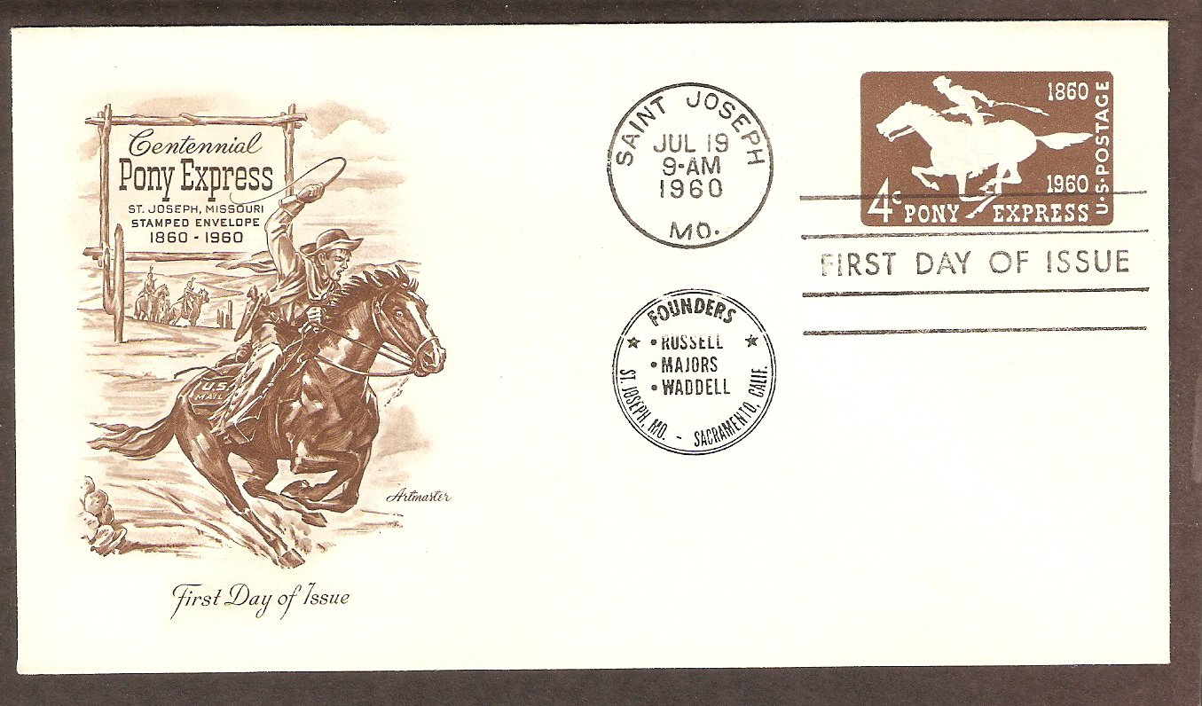 Pony Express Centennial Mail Carrier Embossed Postage