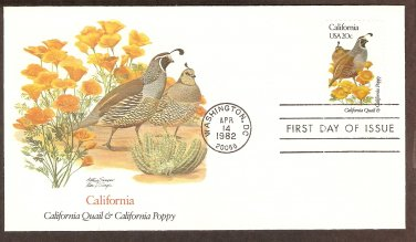 California Birds and Flowers, California Quail and California Poppy, FW First Issue USA