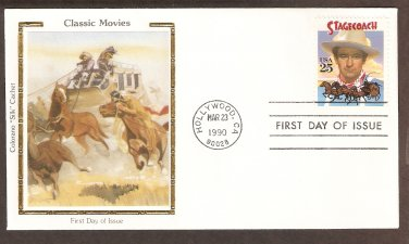Honoring John Wayne, 1939 Stagecoach, Colorano Silk First Issue USA