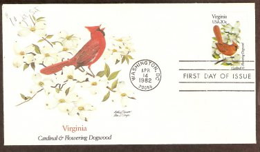 Virginia Birds and Flowers, Cardinal and Flowering Dogwood, FW First Issue USA