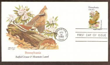 Pennsylvania Birds and Flowers, Ruffed Grouse and Mountain Laurel, FW First Issue USA