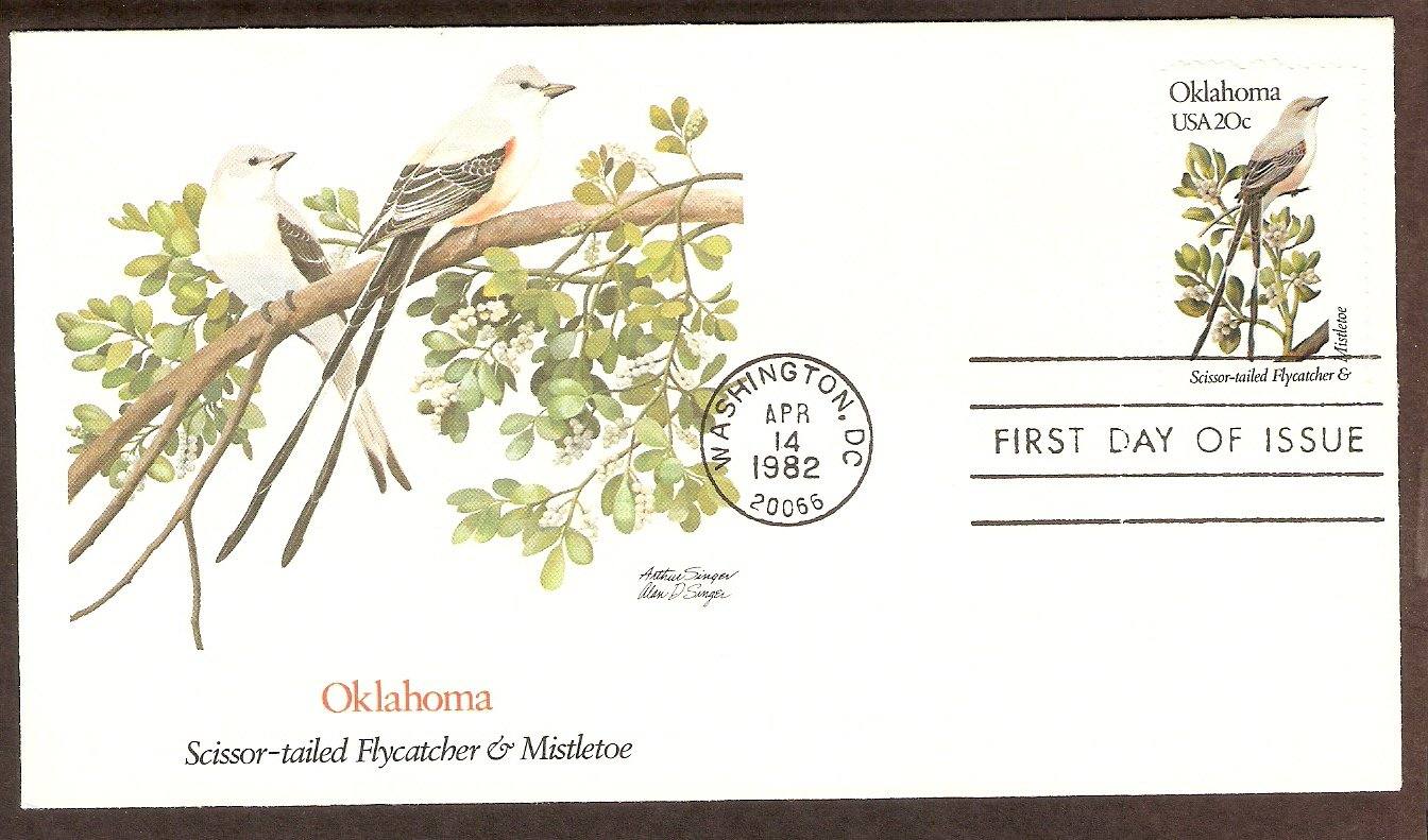Oklahoma Birds and Flowers, Scissor-tailed Flycatcher and Mistletoe, FW First Issue USA