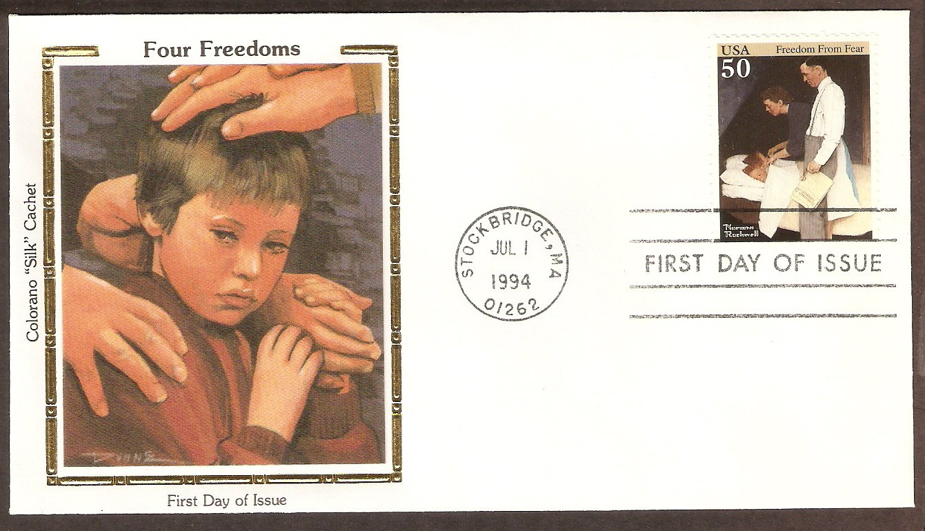 American Illustrator Norman Rockwell, Freedom From Fear Colorano Silk First Issue USA