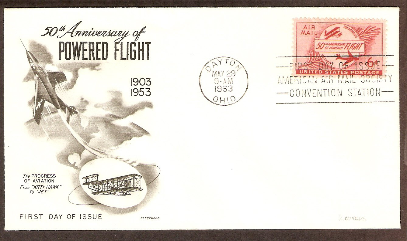 50th Anniversary of Powered Flight, Aviation, Airplanes, FW 1953 First Issue USA