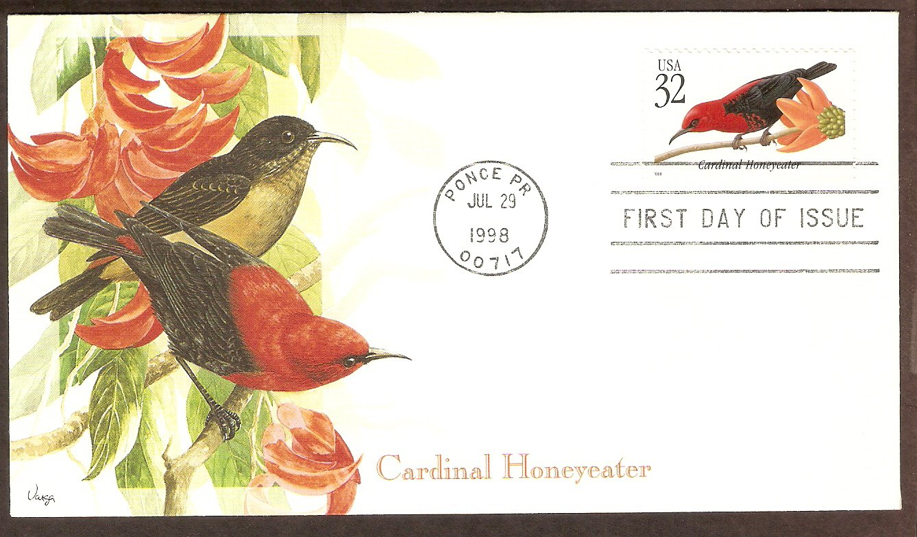 Tropical Birds, Cardinal Honeyeater, Puerto Rico, First Issue USA