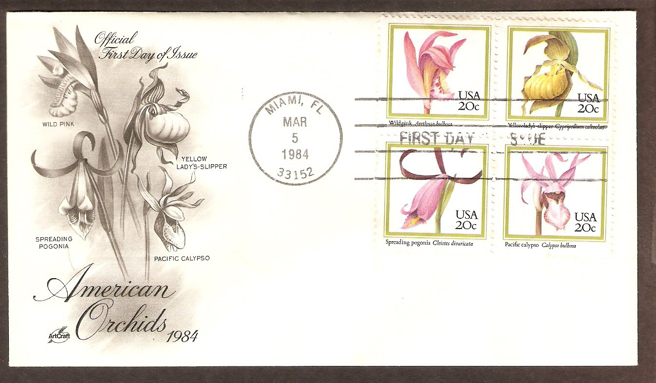 American Orchids, Wild Pink, Yellow Lady's Slipper, Spreading Pogonia, Pacific Calypso First Issue
