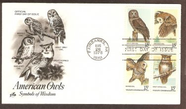 American Owls Great Horned, Barred, Great Gray, Saw-wet, First Issue USA