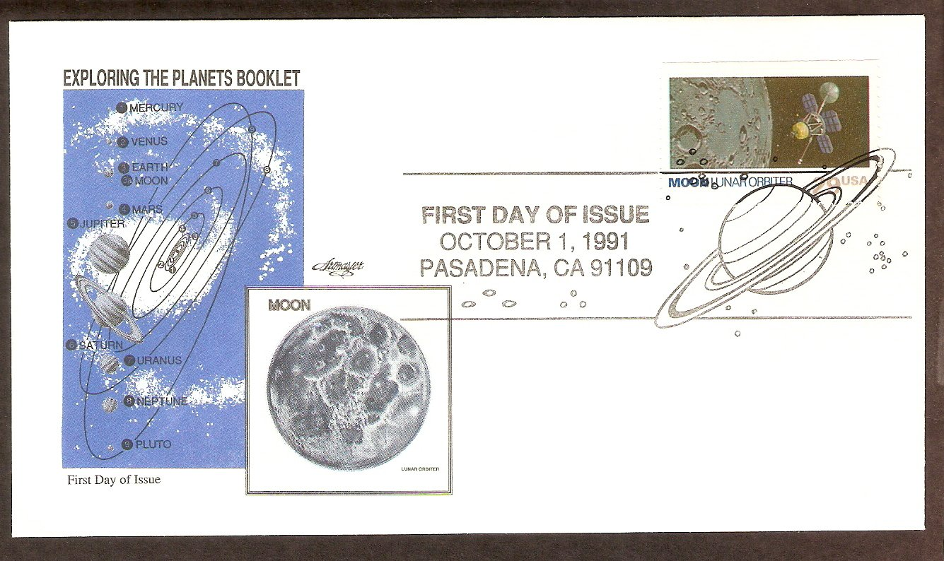 NASA Exploring the Planets, Lunar Orbiter, Moon, 1991 First Issue USA