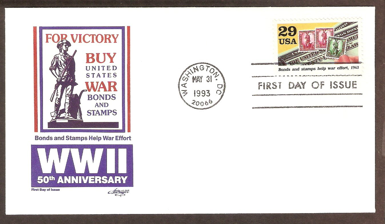 50th Anniversary World War II, 1943 Bonds and Stamps Help War Effort FDC USA