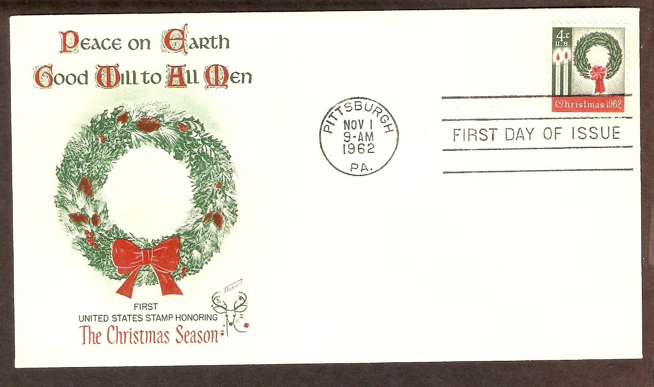 USPS, The First United States Christmas Postage Stamp, Wreath, First Issue USA 1962