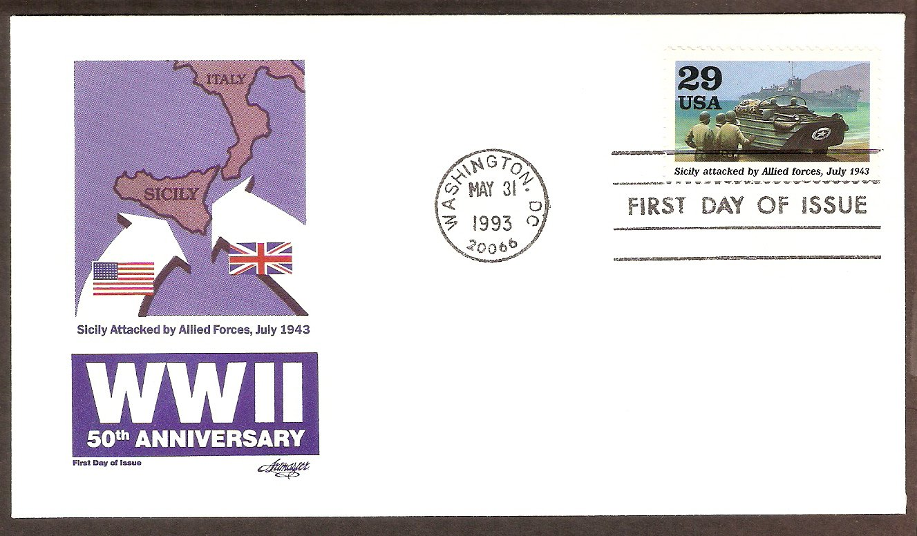 50th Anniversary World War II, 1943 Sicily Attacked by Allied Forces FDC USA